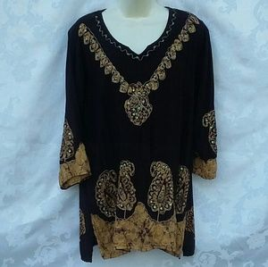 Womans Top Blouse Pullover Large Brown Embellished